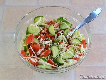 Салат из помидор и огурца с маслом калорийность