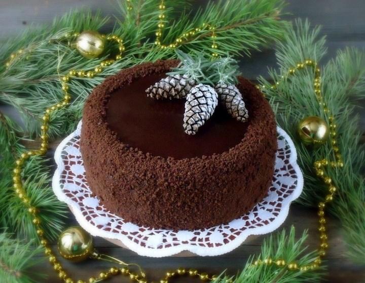 Оформление торта к новому году