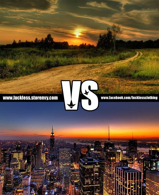 living in the city vs living in the country Obviously country is better then city in the city it's dirty, noisy, tons of cars, no (usually) close friends (neighbors), dangorous and annoying.