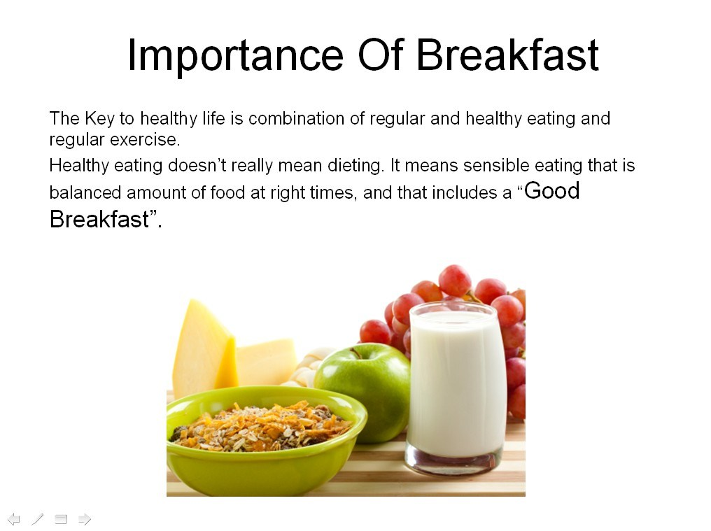 speech importance of breakfast [i]n many ways, the breakfast is the most important meal of the day, because it is the meal that gets the day started, lenna f cooper, bs, writes in a 1917 issue of good health, the self-proclaimed oldest health magazine in the world edited by none other than dr john harvey kellogg, the co-inventor of flaked cereal.