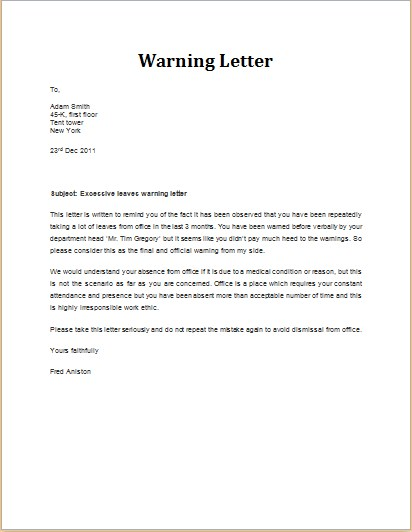 Final Warning Letter For Absenteeism from ph.toluna.com