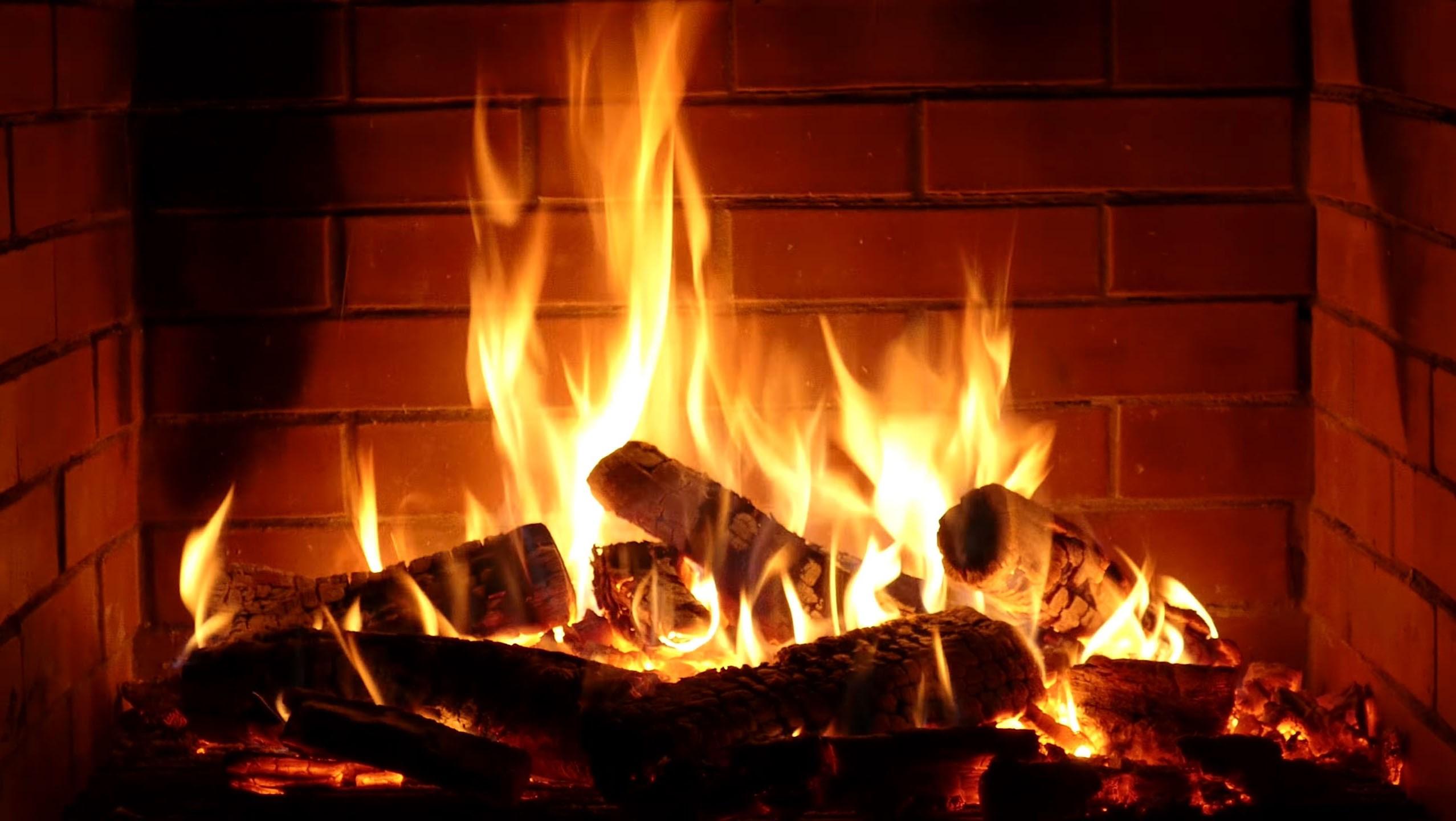fireplace firewood flicker flame christmas - HD2555×1440