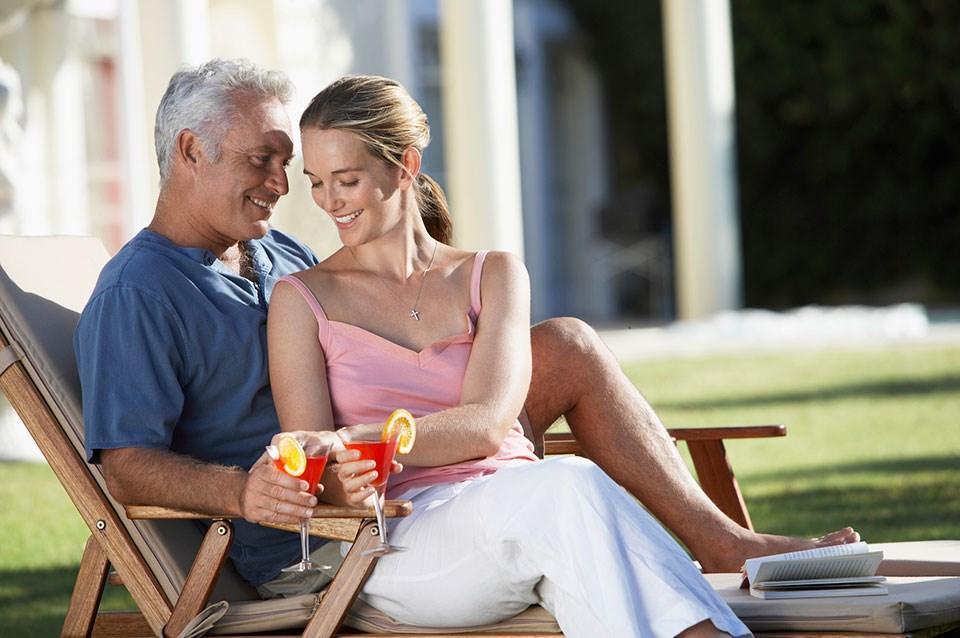 Outdoor teen older men with younger women